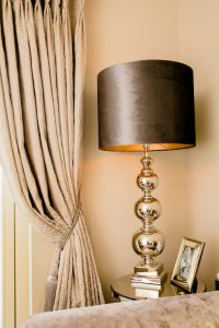 silver and taupe lamp