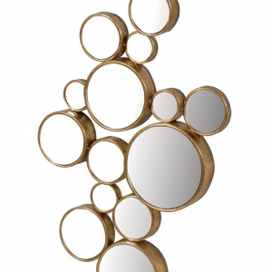 Brass coloured 15 circles mirror
