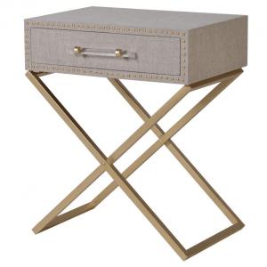 Cross Leg Linen Side Table
