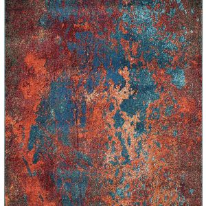Multi coloured rug. Teal, orange, yellow and hints pink. 1.6mx2.21. 2.01x2.92m 80SEC-RN