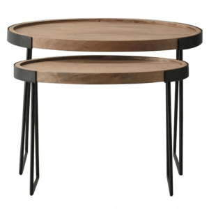 Nest of 2 Wood and Metal Tables
