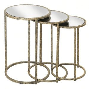 set of 3 gold and mirror next tables